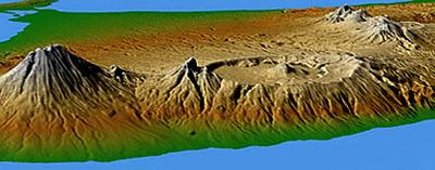 gunung batur bali struktur dataran
