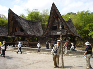 batak traditional houses at samosir island