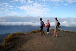 trekking to mount batur